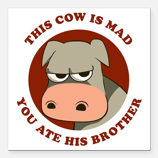 "Angry Cow Square Car Magnet 3"" x 3"""