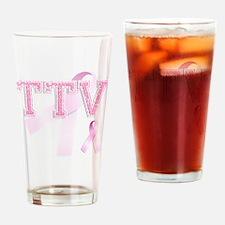 TTV initials, Pink Ribbon, Drinking Glass