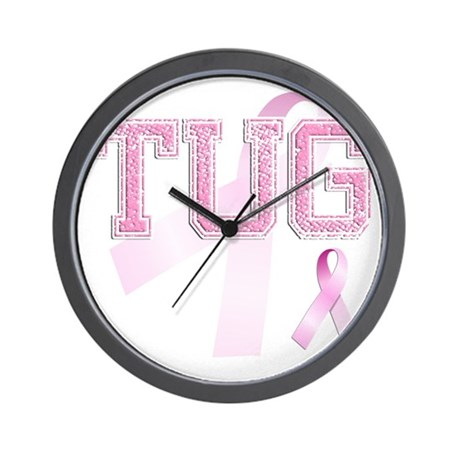 TUG initials, Pink Ribbon, Wall Clock