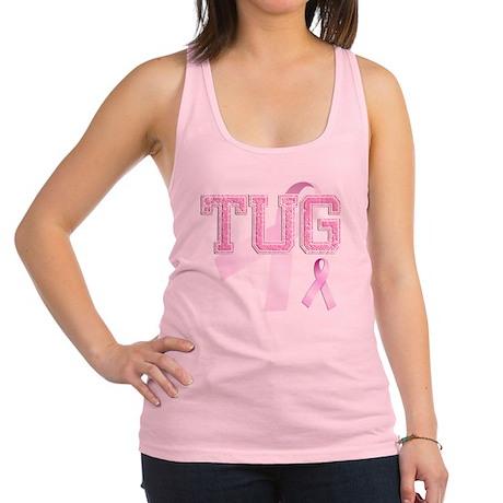 TUG initials, Pink Ribbon, Racerback Tank Top