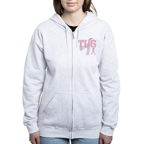 TUG initials, Pink Ribbon, Women's Zip Hoodie