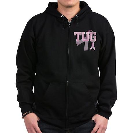 TUG initials, Pink Ribbon, Zip Hoodie (dark)