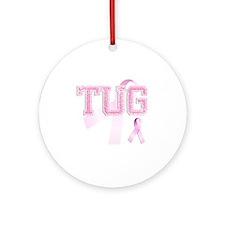 TUG initials, Pink Ribbon, Round Ornament