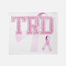 TRD initials, Pink Ribbon, Throw Blanket