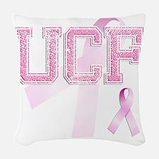 UCF initials, Pink Ribbon, Woven Throw Pillow