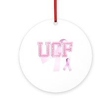 UCF initials, Pink Ribbon, Round Ornament
