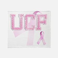 UCF initials, Pink Ribbon, Throw Blanket