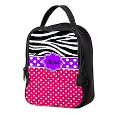 Pink Purple Zebra Neoprene Lunch Bag