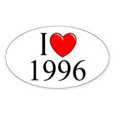 """I Love 1996"" Oval Decal"