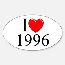 """""""I Love 1996"""" Oval Decal"""