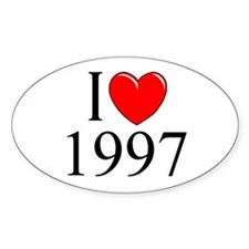 """""""I Love 1997"""" Oval Decal"""