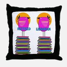 FF Ret Librarian Bird 4 Throw Pillow