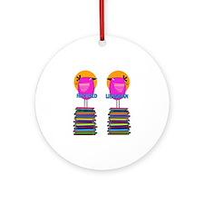 FF Ret Librarian Bird 4 Round Ornament