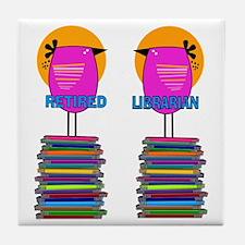 FF Ret Librarian Bird 4 Tile Coaster