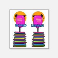 "FF Ret Librarian Bird 4 Square Sticker 3"" x 3"""