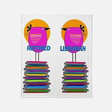 FF Ret Librarian Bird 4 Throw Blanket