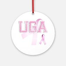 UGA initials, Pink Ribbon, Round Ornament