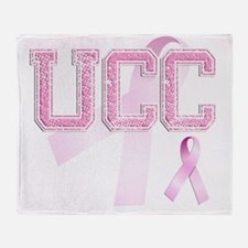 UCC initials, Pink Ribbon, Throw Blanket