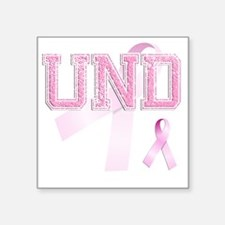 "UND initials, Pink Ribbon, Square Sticker 3"" x 3"""