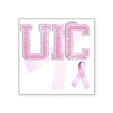 "UIC initials, Pink Ribbon, Square Sticker 3"" x 3"""