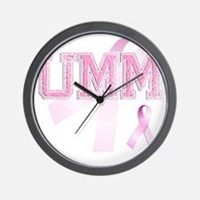 UMM initials, Pink Ribbon, Wall Clock