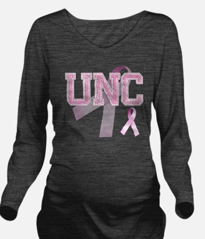 UNC initials, Pink R Long Sleeve Maternity T-Shirt