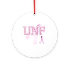 UNF initials, Pink Ribbon, Round Ornament