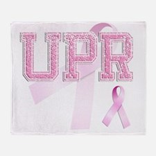 UPR initials, Pink Ribbon, Throw Blanket