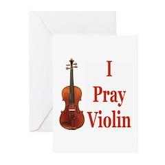 I Pray Violin Greeting Cards (Pk of 10)