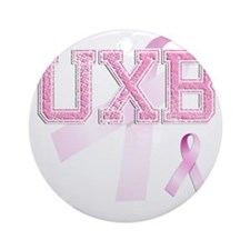 UXB initials, Pink Ribbon, Round Ornament