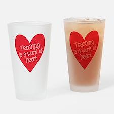 Red Teacher Heart Drinking Glass