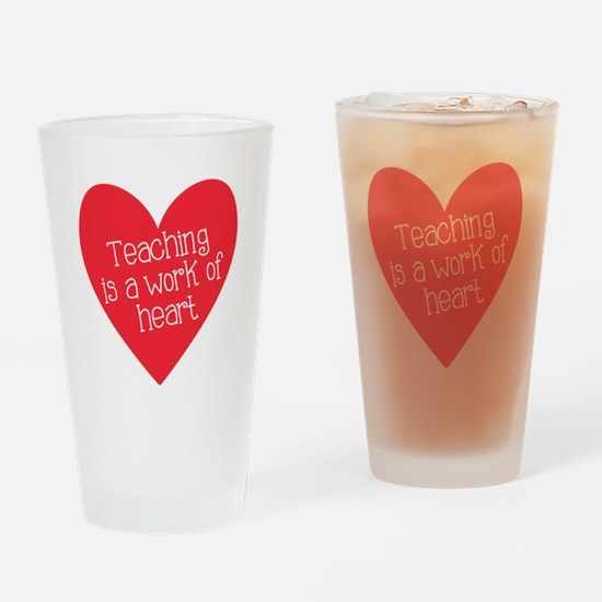 Red Teacher Heart Drinking Glass
