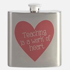 Red Teacher Heart Flask