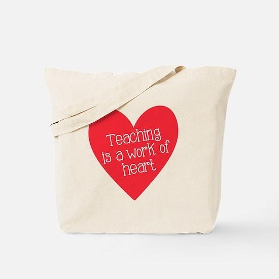 Red Teacher Heart Tote Bag