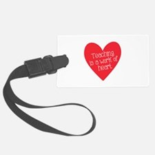 Red Teacher Heart Luggage Tag