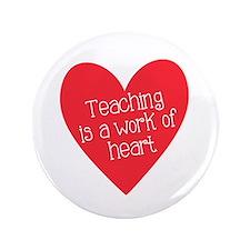 """Red Teacher Heart 3.5"""" Button"""