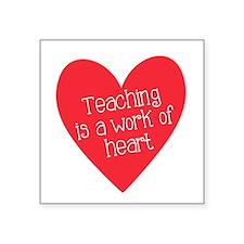 "Red Teacher Heart Square Sticker 3"" x 3"""