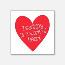 "Red Teacher Heart Square Sticker 3"" x 3"""
