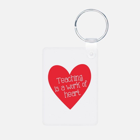 Red Teacher Heart Aluminum Photo Keychain