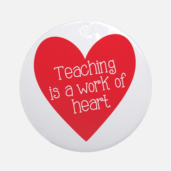 Red Teacher Heart Ornament (Round)