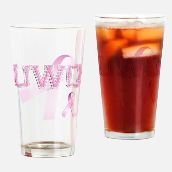 UWO initials, Pink Ribbon, Drinking Glass