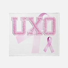 UXO initials, Pink Ribbon, Throw Blanket