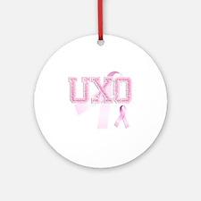 UXO initials, Pink Ribbon, Round Ornament