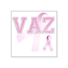 """VAZ initials, Pink Ribbon, Square Sticker 3"""" x 3"""""""