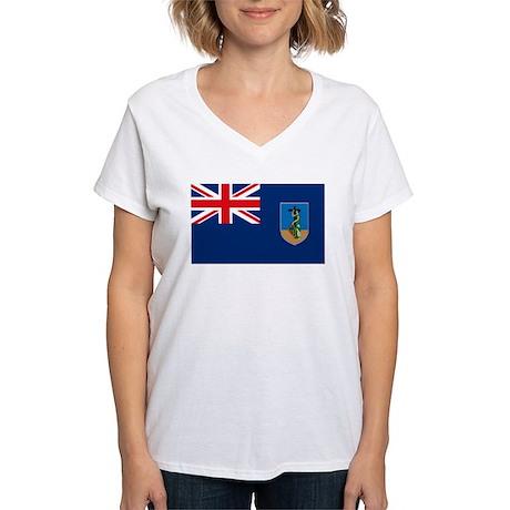 Montserrat Flag Women's V-Neck T-Shirt