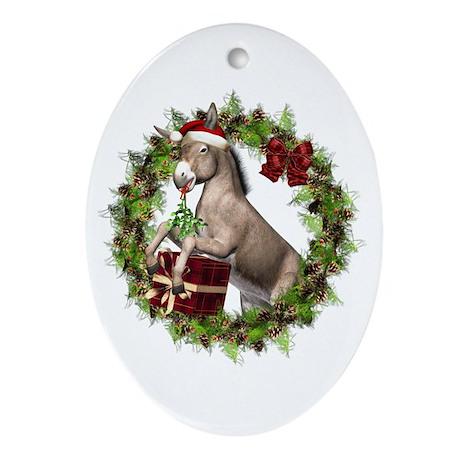 Donkey Santa Hat Inside Wreath Ornament (oval)
