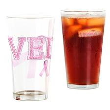 VEI initials, Pink Ribbon, Drinking Glass