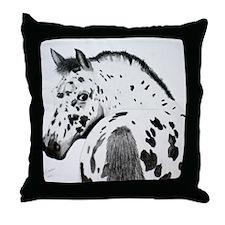 Leopard Appaloosa Colt pencil drawing Throw Pillow