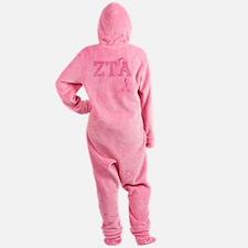 ZTA initials, Pink Ribbon, Footed Pajamas