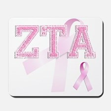 ZTA initials, Pink Ribbon, Mousepad